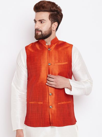 Sojanya (Since 1958) Men's Silk Blend Peach Nehrujacket