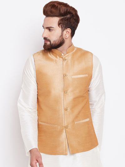 Sojanya (Since 1958) Dark Peach Nehru Jacket