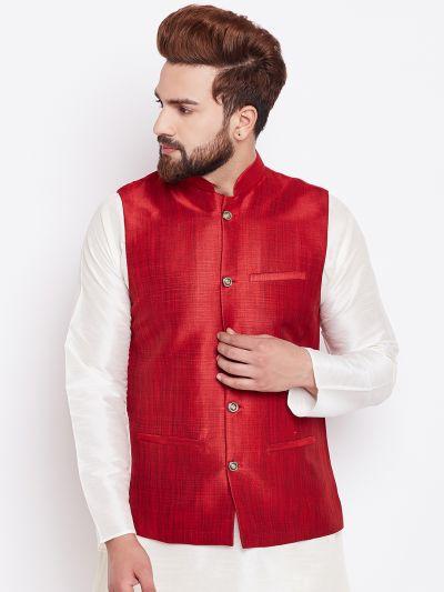 Sojanya (Since 1958) Men's Silk Blend Maroon Nehrujacket