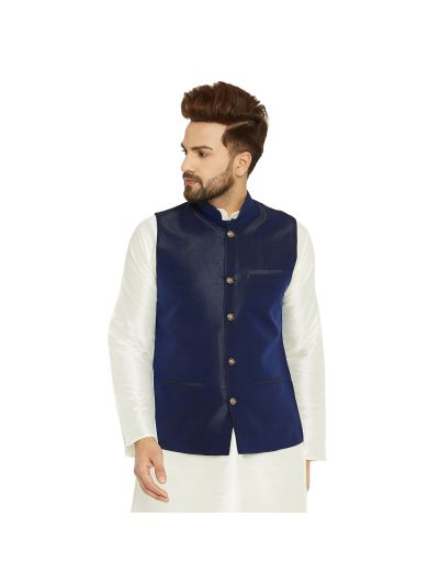 Sojanya (Since 1958) Men's Silk Blend Navy Blue Nehrujacket