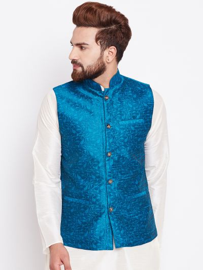 Sojanya (Since 1958) Sea Green Designer Nehru Jacket