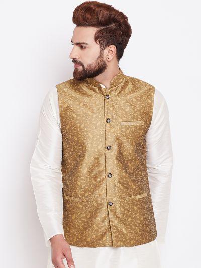 Sojanya (Since 1958) Gold Designer Nehru Jacket