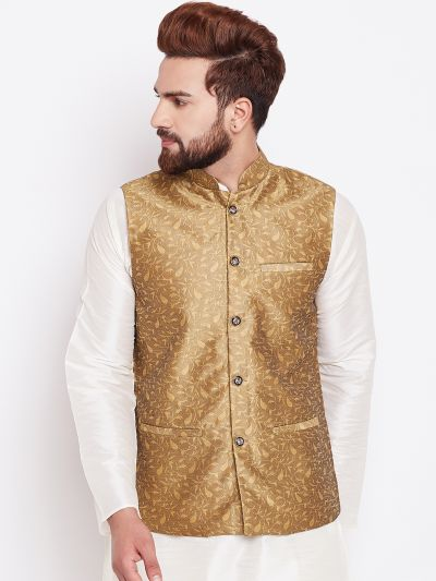 Sojanya (Since 1958) Men's Silk Blend Gold Nehrujacket