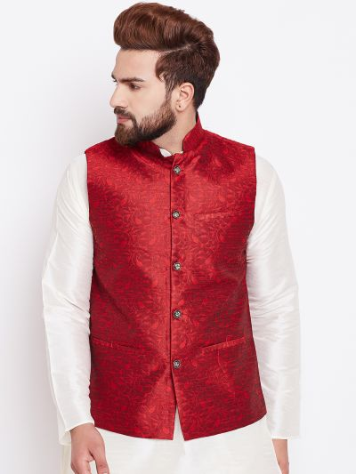 Sojanya (Since 1958) Mahroon Designer Nehru Jacket