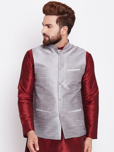 Sojanya (Since 1958) Men's Silk Blend Grey Nehrujacket
