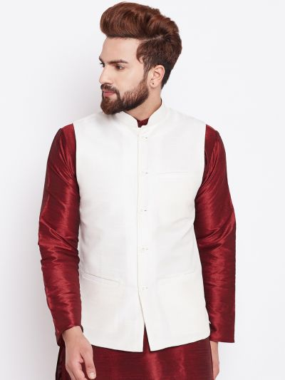 Sojanya (Since 1958) Cream Nehru Jacket