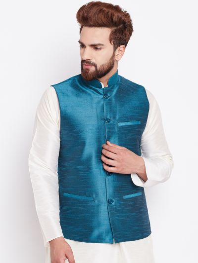 Sojanya (Since 1958) Men's Silk Blend Blue Nehrujacket