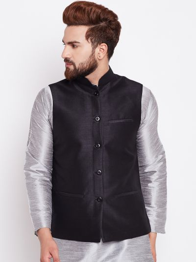Sojanya (Since 1958) Black Nehru Jacket