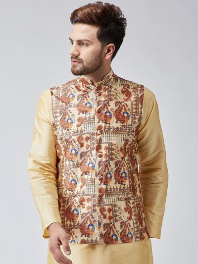 Sojanya (Since 1958) Gold Printed Nehru Jacket