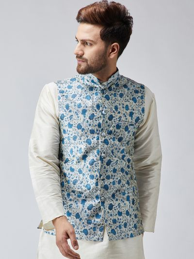 Sojanya (Since 1958) Blue Printed Nehru Jacket