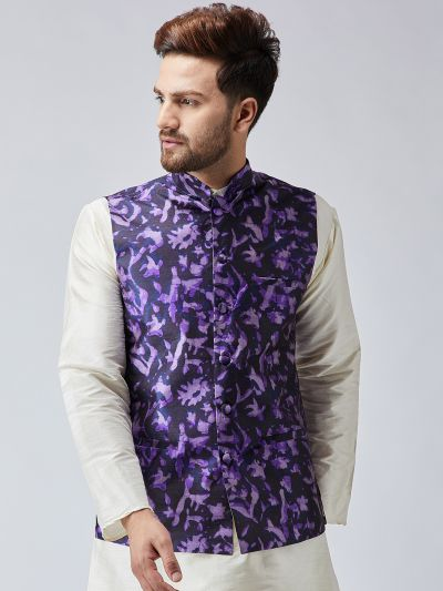 Sojanya (Since 1958) Navy Blue Printed Nehru Jacket