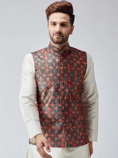 Sojanya (Since 1958) Multi Printed Nehru Jacket