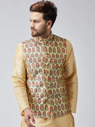 Sojanya (Since 1958) Beige Printed Nehru Jacket