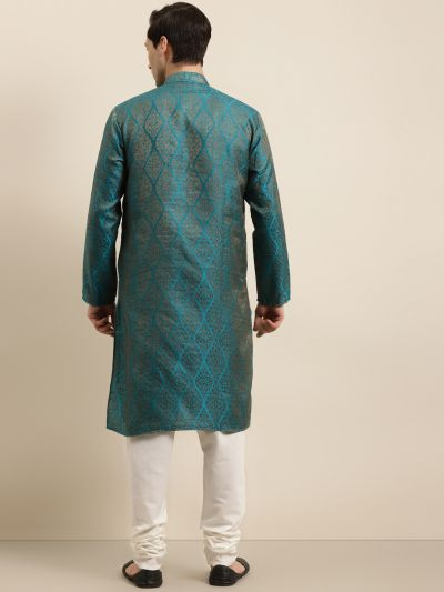 Sojanya (Since 1958) Men's Jacquard Silk Teal Blue & Gold Kurta & Off-White Churidar Pyjama Set