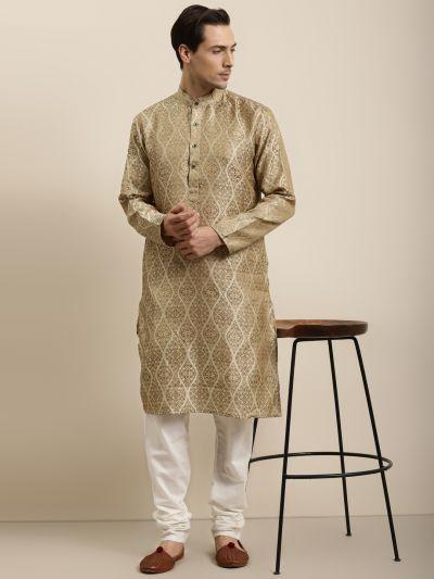 Sojanya (Since 1958) Men's Jacquard Silk Beige & Gold Kurta & Off-White Churidar Pyjama Set