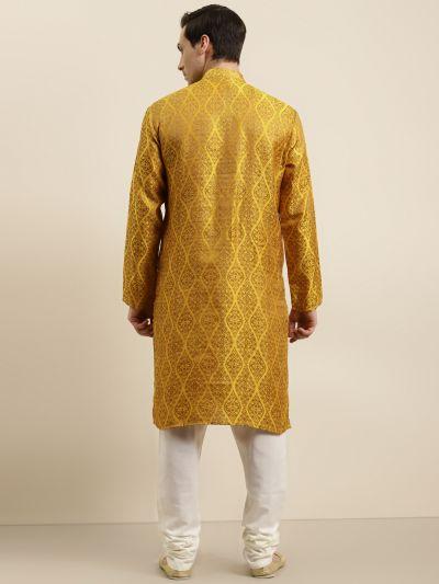 Sojanya (Since 1958) Men's Jacquard Silk Mustard & Gold Kurta & Off-White Churidar Pyjama Set