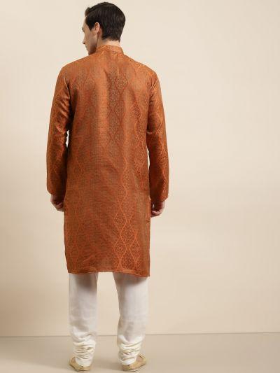Sojanya (Since 1958) Men's Jacquard Silk Orange & Gold Kurta & Off-White Churidar Pyjama Set