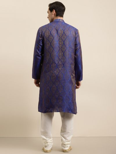 Sojanya (Since 1958) Men's Jacquard Silk Blue & Gold Kurta & Off-White Churidar Pyjama Set