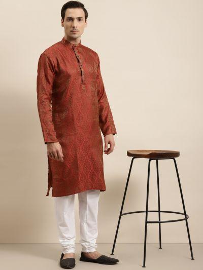 Sojanya (Since 1958) Men's Jacquard Silk Red & Gold Kurta & Off-White Churidar Pyjama Set