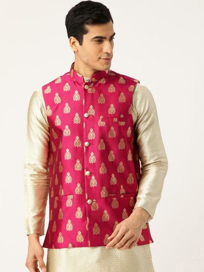 Sojanya (Since 1958), Mens Silk Blend Magenta & Gold Self Design Nehru Jacket