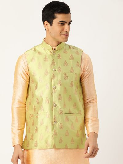 Sojanya (Since 1958), Mens Silk Blend Green & Gold Self Design Nehru Jacket
