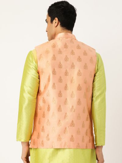 Sojanya (Since 1958), Mens Silk Blend Peach & Gold Self Design Nehru Jacket