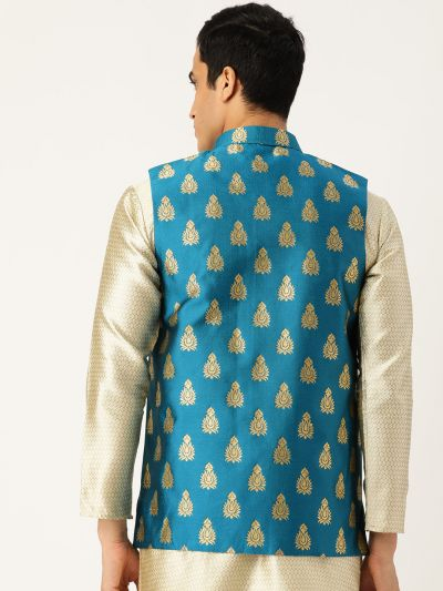 Sojanya (Since 1958), Mens Silk Blend Teal Blue & Gold Self Design Nehru Jacket