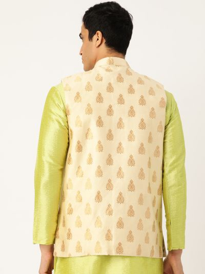 Sojanya (Since 1958), Mens Silk Blend Beige & Gold Self Design Nehru Jacket