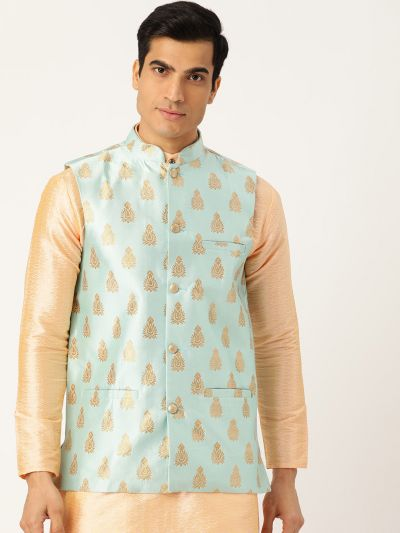 Sojanya (Since 1958), Mens Silk Blend Sea Green & Gold Self Design Nehru Jacket