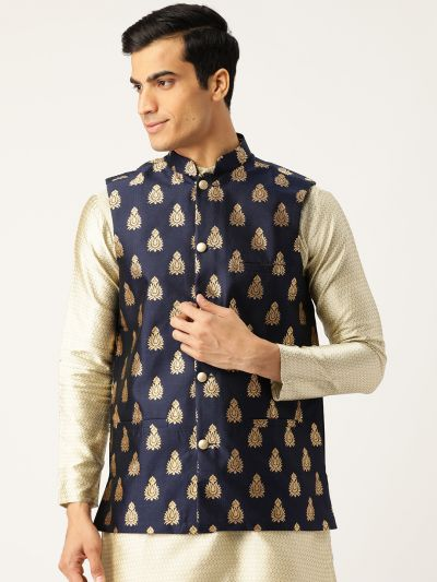 Sojanya (Since 1958), Mens Silk Blend Navy Blue & Gold Self Design Nehru Jacket
