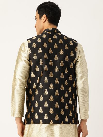 Sojanya (Since 1958), Mens Silk Blend Black & Gold Self Design Nehru Jacket