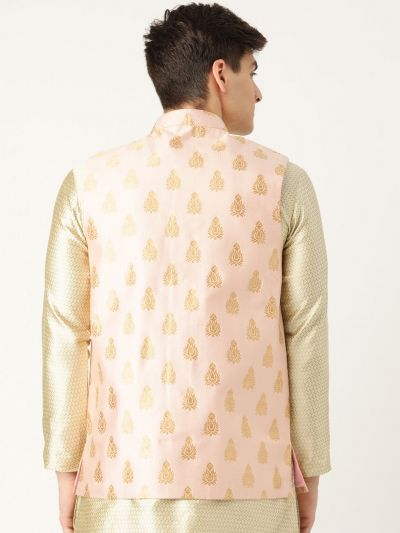 Sojanya (Since 1958), Mens Silk Blend Pink & Gold Self Design Nehru Jacket