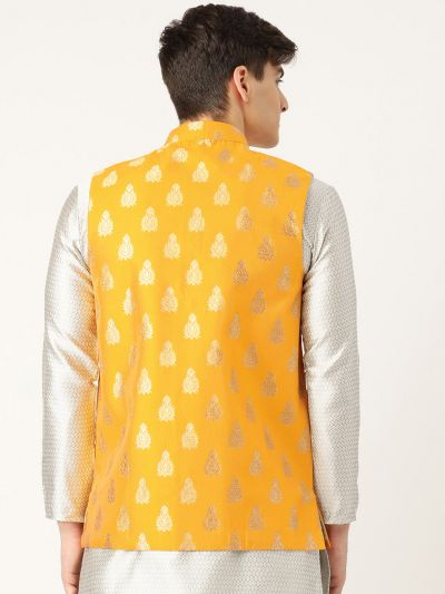 Sojanya (Since 1958), Mens Silk Blend Mustard & Gold Self Design Nehru Jacket
