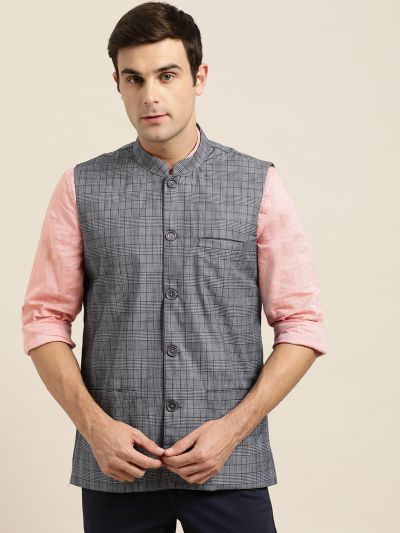 Sojanya (Since 1958), Mens Cotton Blend Grey & Black Checked Nehru Jacket