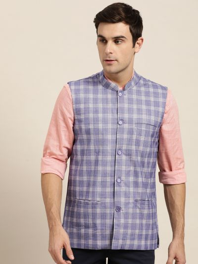 Sojanya (Since 1958), Mens Cotton Blend Purple & Yellow Checked Nehru Jacket