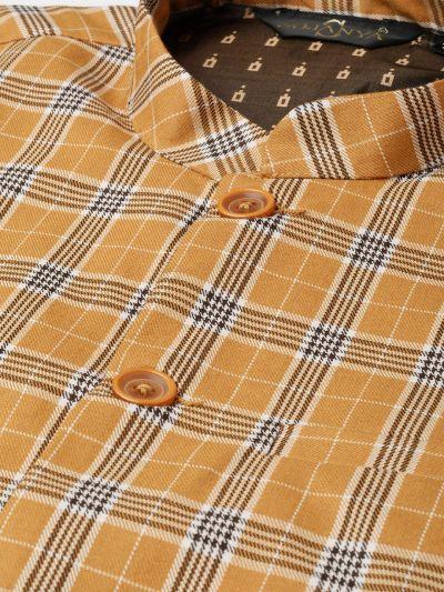 Sojanya (Since 1958), Mens Cotton Blend Mustard & Brown Checked Nehru Jacket