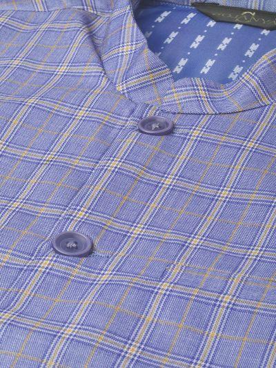 Sojanya (Since 1958), Mens Cotton Blend Blue & Yellow Checked Nehru Jacket