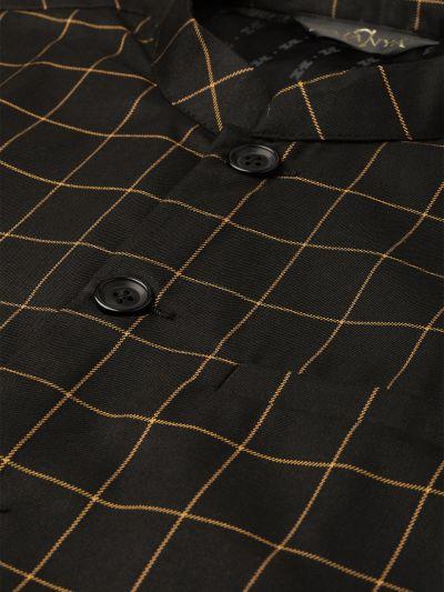 Sojanya (Since 1958), Mens Cotton Blend Black & Mustard Checked Nehru Jacket