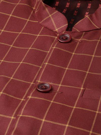 Sojanya (Since 1958), Mens Cotton Blend Maroon & Mustard Checked Nehru Jacket