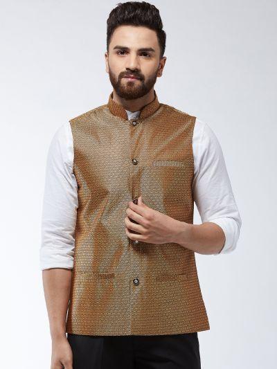 Sojanya (Since 1958) Men's Jacquard Silk Copper Self Design Nehru Jacket