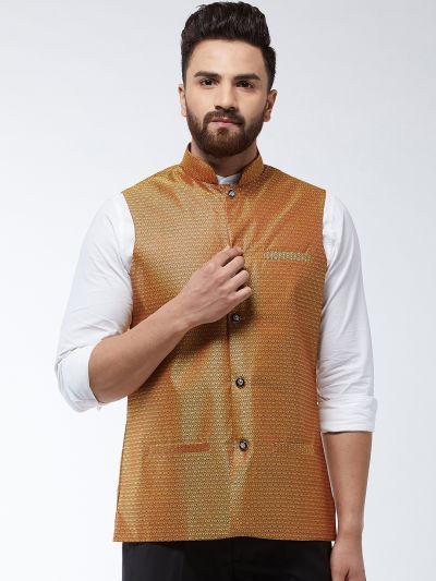 Sojanya (Since 1958) Men's Jacquard Silk Mustard Self Design Nehru Jacket