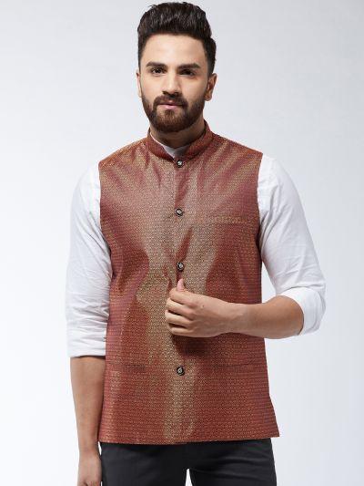 Sojanya (Since 1958) Men's Jacquard Silk Rust Self Design Nehru Jacket