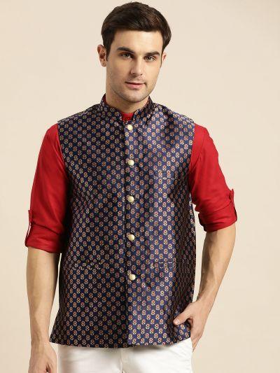 Sojanya (Since 1958), Mens Silk Blend Navy Blue & Multi Color Self Design Nehru Jacket