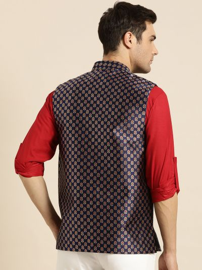 Sojanya (Since 1958), Mens Silk Blend Navy Blue & Multi Color Self Design Nehru Jacket