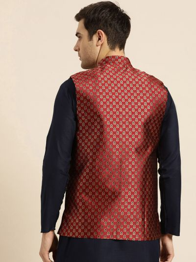 Sojanya (Since 1958), Mens Silk Blend Maroon & Multi Color Self Design Nehru Jacket