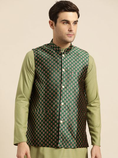 Sojanya (Since 1958), Mens Silk Blend Dark Green & Multi Color Self Design Nehru Jacket