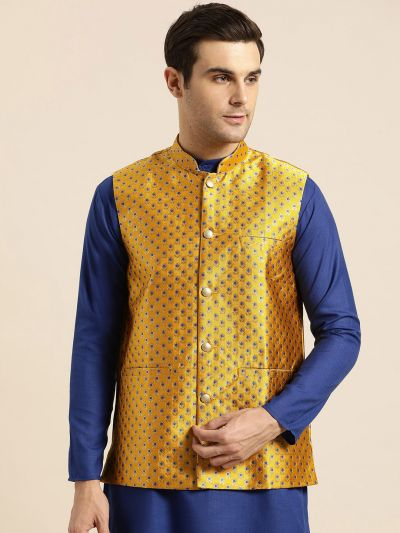Sojanya (Since 1958), Mens Silk Blend Mustard & Multi Color Self Design Nehru Jacket