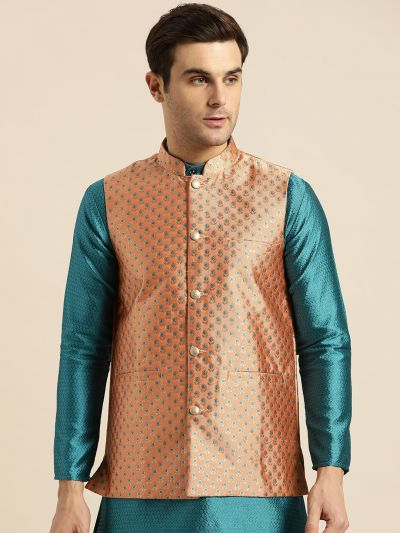 Sojanya (Since 1958), Mens Silk Blend Peach & Multi Color Self Design Nehru Jacket