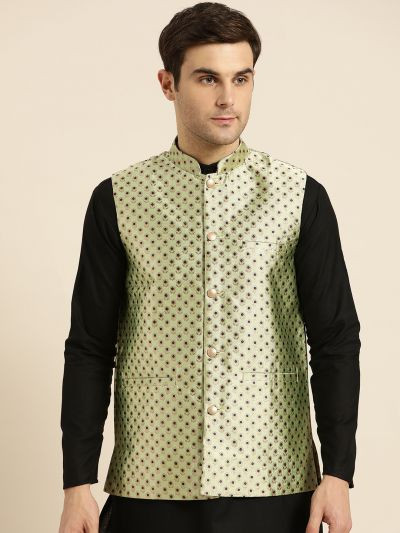 Sojanya (Since 1958), Mens Silk Blend Pista Green & Multi Color Self Design Nehru Jacket