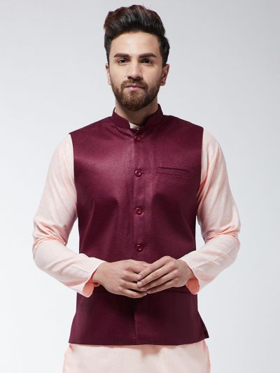 Sojanya (Since 1958) Men's Jute Cotton Maroon ONLY Nehrujacket